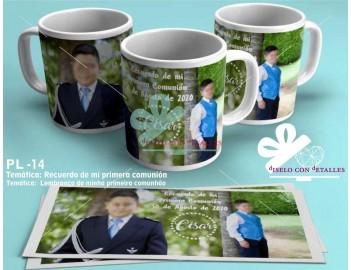 Taza personalizada con foto y texto personalizado para comunión