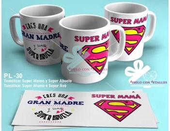 """Taza personalizada con dibujo y texto """" SUPER MAMÁ """" y """" Eres una gran madre y una super abuela """""""