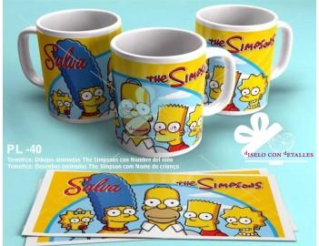 Taza personalizada con Nombre del niño y plantilla de The Simpson