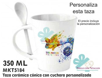 Taza cónica de cerámica personalizada con cuchara de cerámica también. El precio incluye la personalización.
