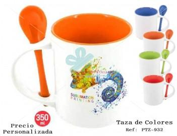 Taza personalizada en 4 colores a elegir con cuchara a juego de cerámica también