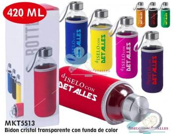 Botella de cristal transparente con funda de colores