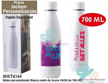 Botella Personalizada acero INOX blanca Multicolor