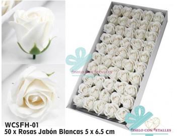 Rosas de jabón blancas y perfurmadas en caja de 50 uds