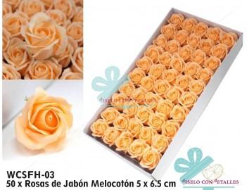 Rosas de jabón de color melocotón