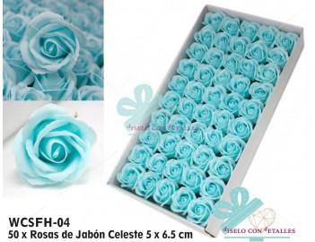 Rosas de jabón celestes en caja de 50 unidades