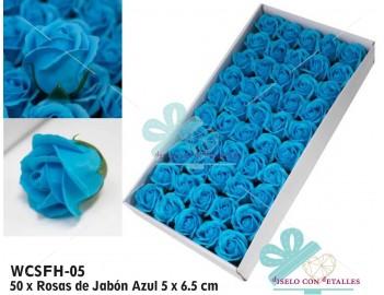 Caja de 50 rosas de jabón azules