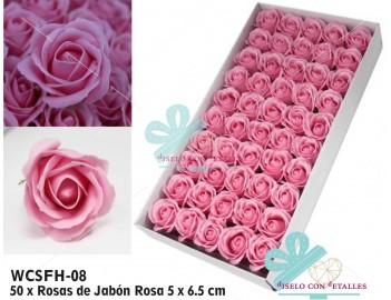 Caja de 50 rosas de jabón en color rosa