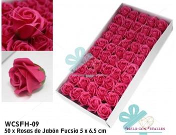 Rosas perfumadas de jabón en color fucsia