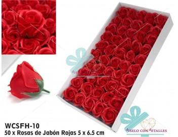 Rosas de jabón perfumadas en color rojo
