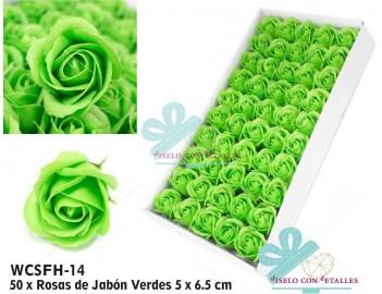 Rosas de jabón perfumado en color verde en caja de 50 unidades