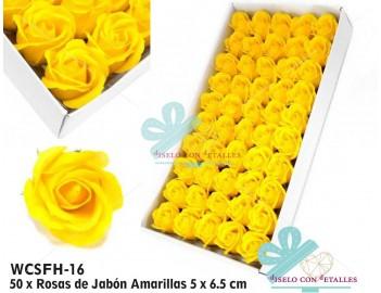 Rosas de pétalos de jabón perfumados en color amarillo