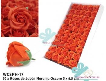 50 rosas de jabón perfumadas en color naranja oscuro