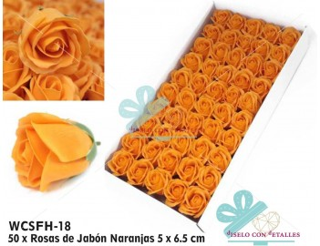 50 rosas con pétalos de jabón perfumado en color naranja