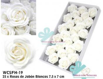 Rosas de jabón perfumadas grandes de color blanco en caja de 25 uds
