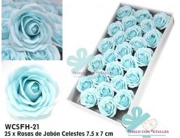 Caja con 25 rosas grandes de jabon perfumado en color azul celeste