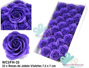 Rosas Violetas de jabón perfumado de tamaño grande