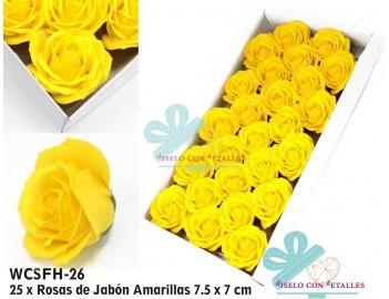 Rosas de jabón perfumado de tamaño grande en color amarillo