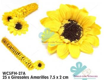 girasoles realizados en jabón perfumado de color amarillo