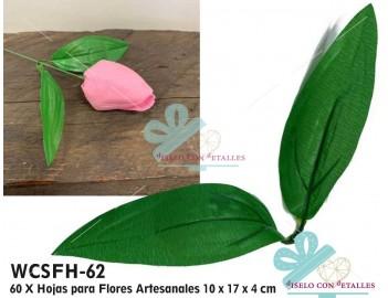 hojas para flores artesanales en caja de 60 uds