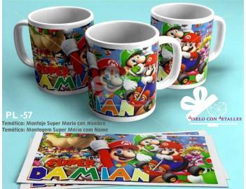Taza Super Mario personalizada con Nombre