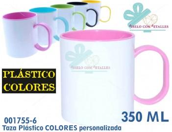 Taza rosa de plástico infantil personalizada