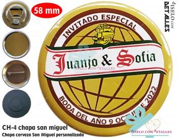 Chapa con diseño de cerveza San Miguel personalizada