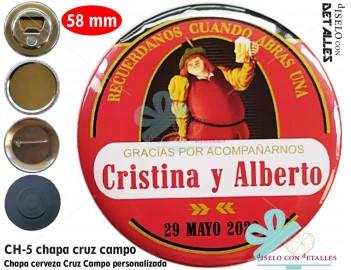 Chapa con diseño de cerveza Cruz Campo personalizada