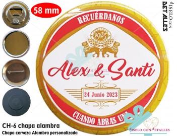 Chapa con diseño de cerveza Alambra personalizada