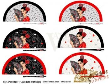 Abanico acrilico flamencas trencadis 23 cm