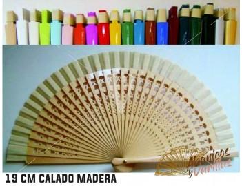 Abanicos de madera calada de 23 cm en colores a elegir